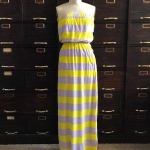 SPLENDID Yellow/Lavender Stripe Maxi Dress S
